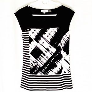 CALVIN KLEIN Blouse black and white sleeveless